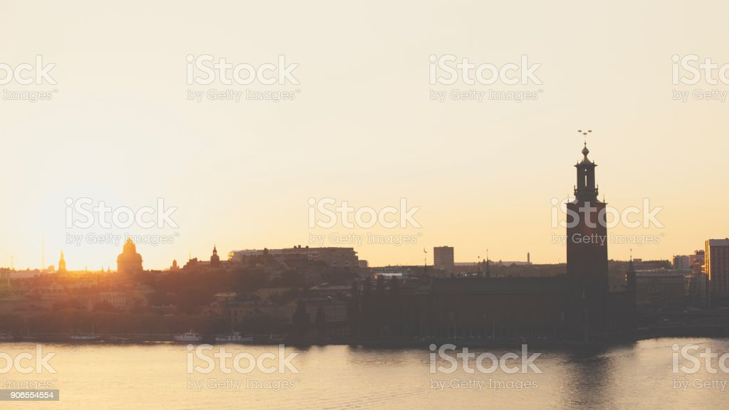 Stockholm City Hall during sunset stock photo