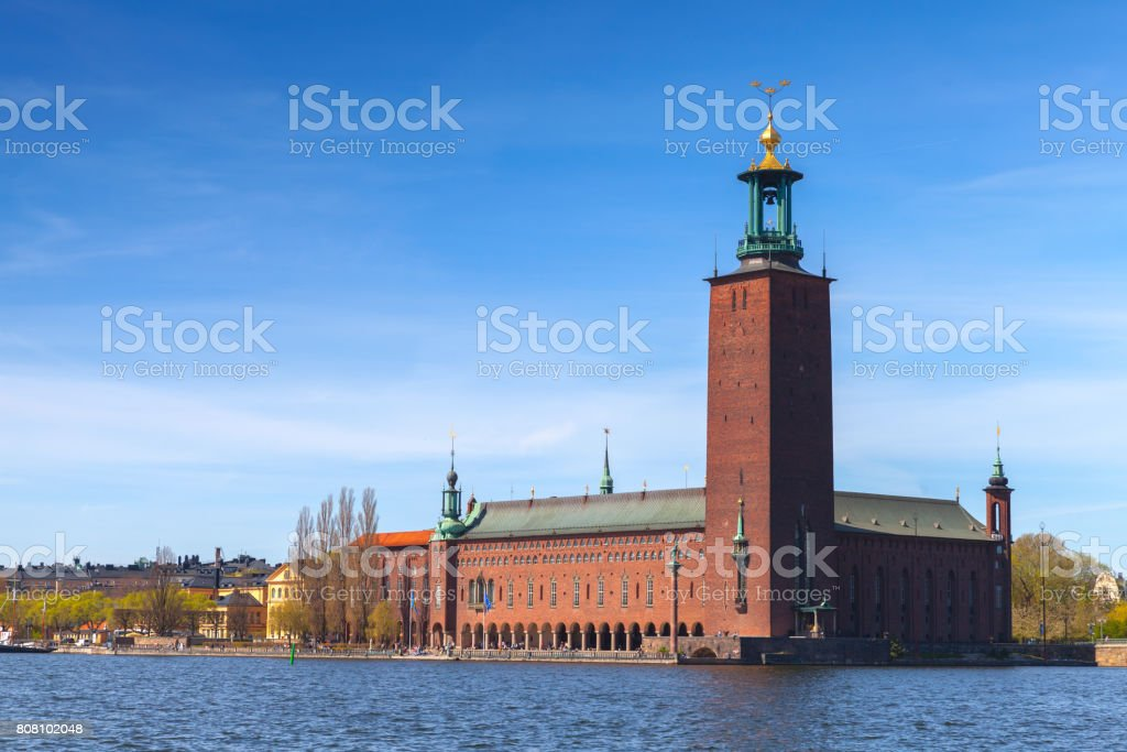 Stockholm City Hall, exterior of the building stock photo