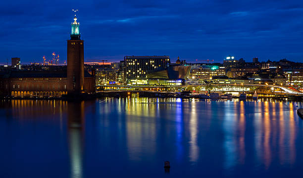 stockholm city hall skyline during night - skyline stockholm bildbanksfoton och bilder