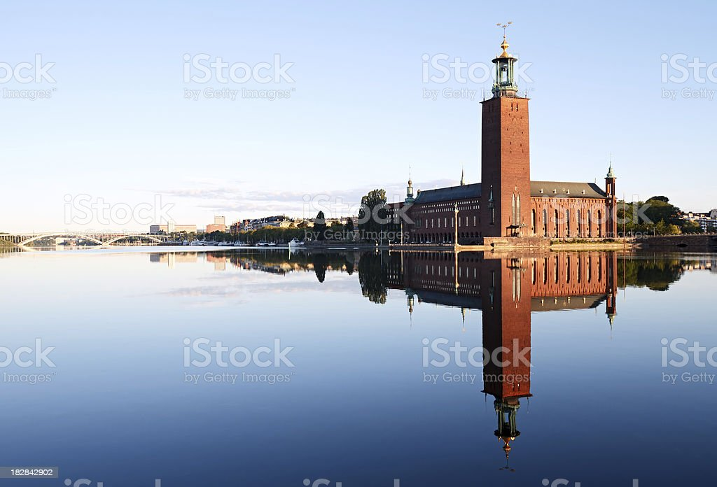 Stockholm City Hall with reflection on water royalty-free stock photo