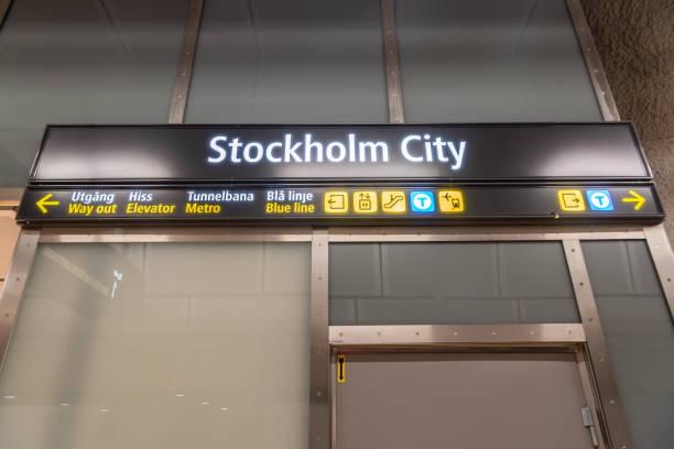 stockholm city station skylt i stockholms tunnel bana. - tunnel trafik sverige bildbanksfoton och bilder