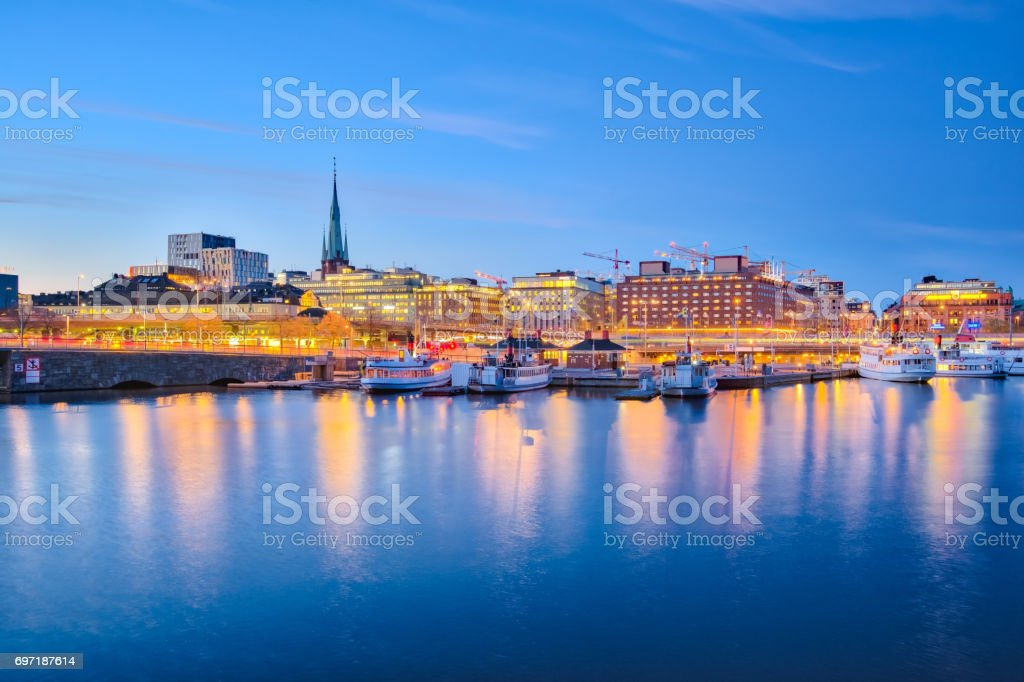 Stockholm cityscape at night in Sweden stock photo