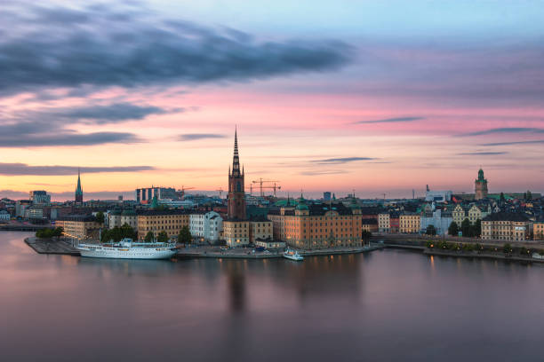 Stockholm cityscape Stockholm at sunset. A cityscape whith the warm tones of summer. stockholm stock pictures, royalty-free photos & images