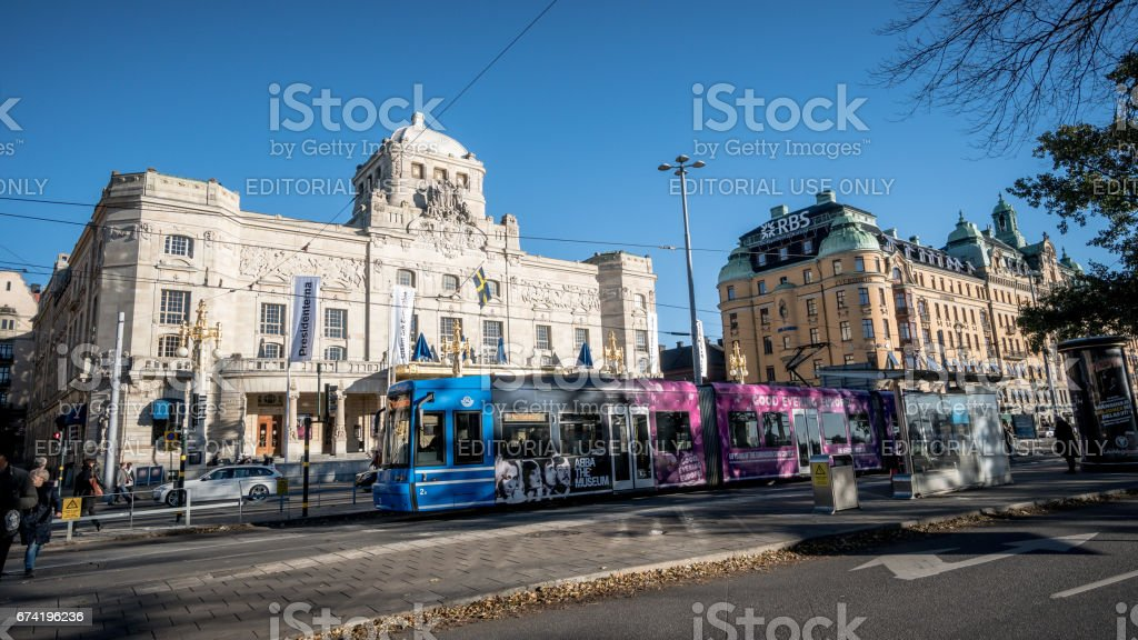 Stockholm cityscape with cable cars stock photo