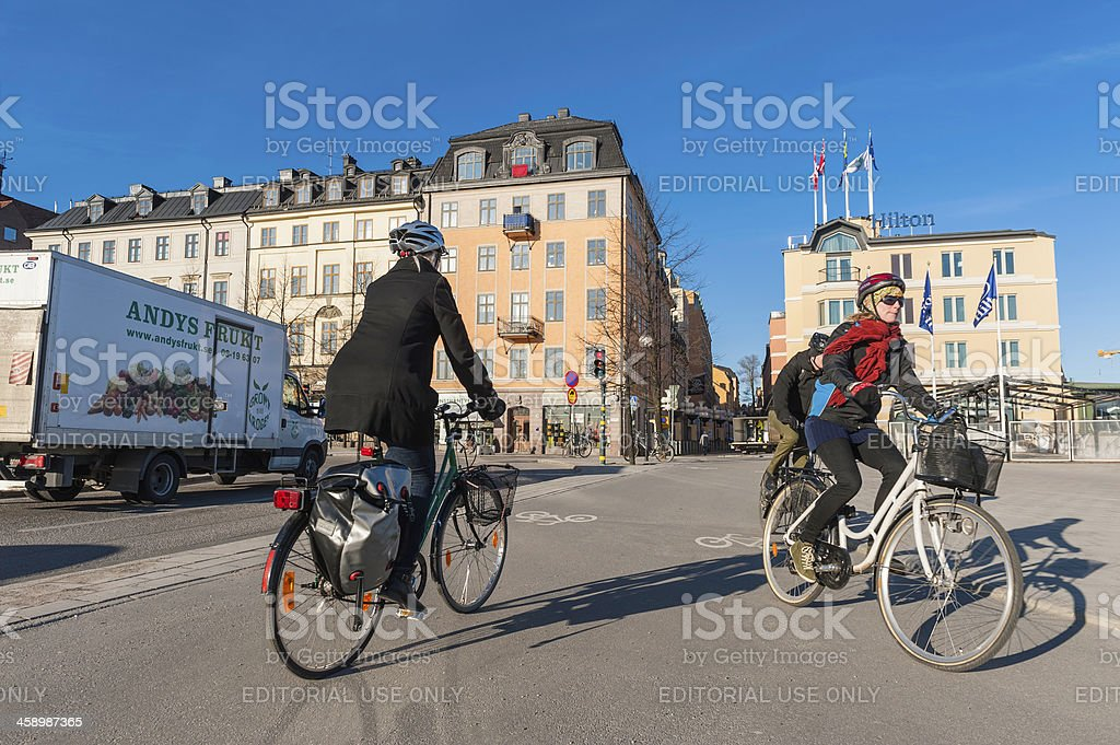 Stockholm commuter cyclists on Sodermalm streets Sweden royalty-free stock photo