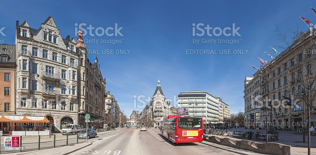 Stockholm downtown street scene cityscape panorama Sweden royalty-free stock photo