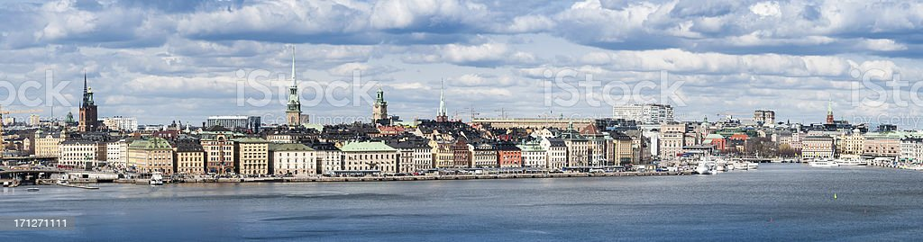 Stockholm Gamla Stan waterfront cityscape panorama royalty-free stock photo