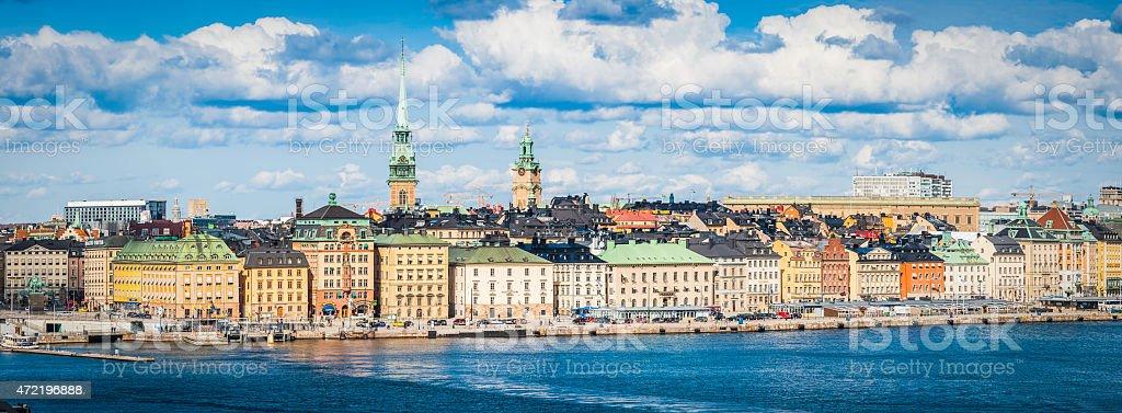 Stockholm Gamla Stan waterfront hotels restaurants cityscape panorama Sweden stock photo