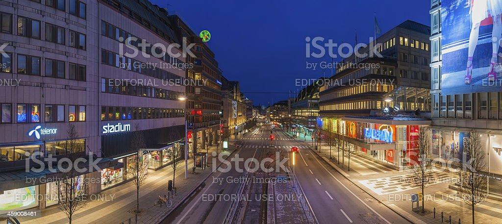 Stockholm Hamngatan shopping street illuminated dusk Sweden royalty-free stock photo
