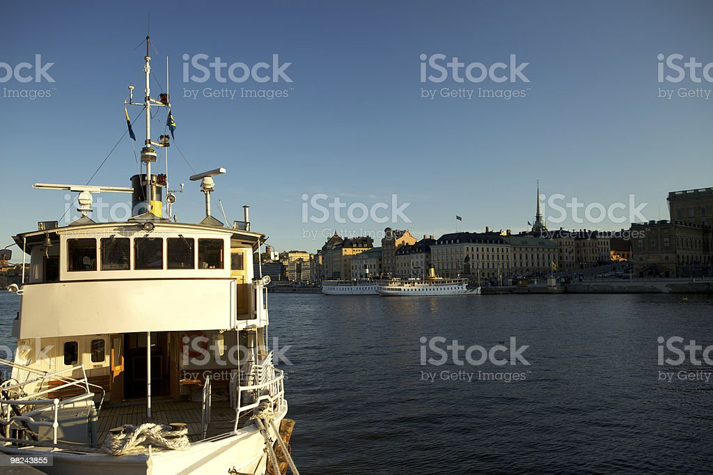 Stockholm Harbor with Boat royalty-free stock photo