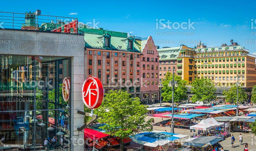 Stockholm Hotorget city centre market square stalls summer sunshine Sweden stock photo