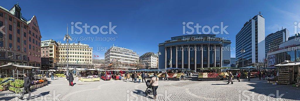 Stockholm Hotorget market Konserthuest panorama Sweden stock photo