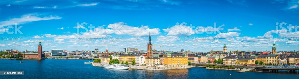 Stockholm iconic landmark cityscape panorama City Hall Gamla Stan Sweden stock photo