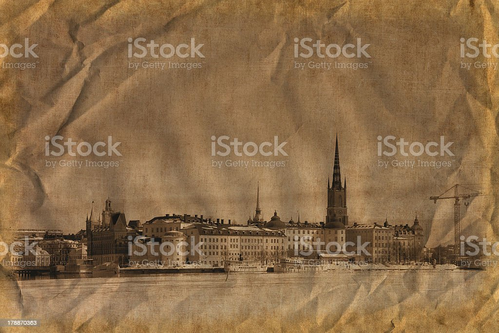Stockholm in retro style stock photo