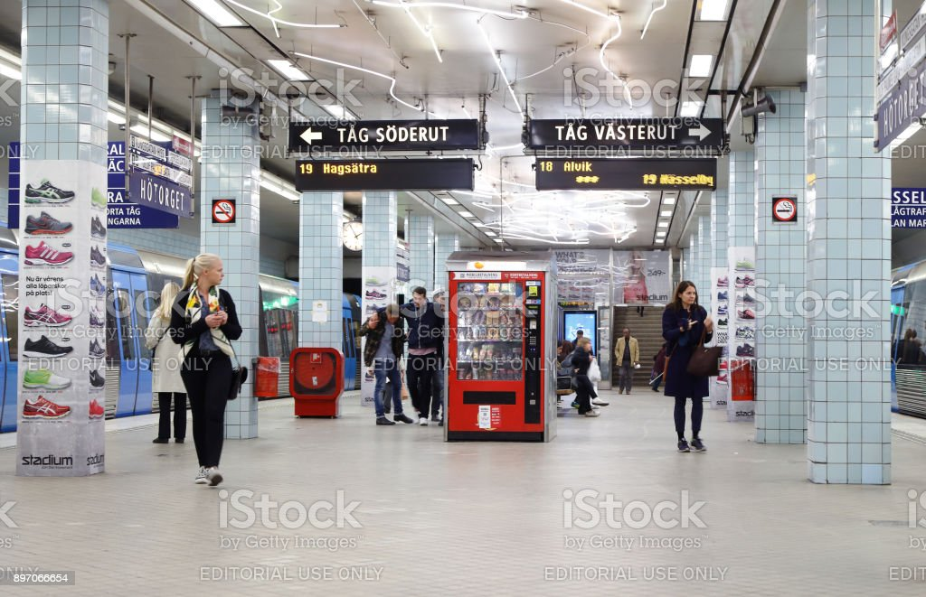 Stockholm metro station Hotorget stock photo