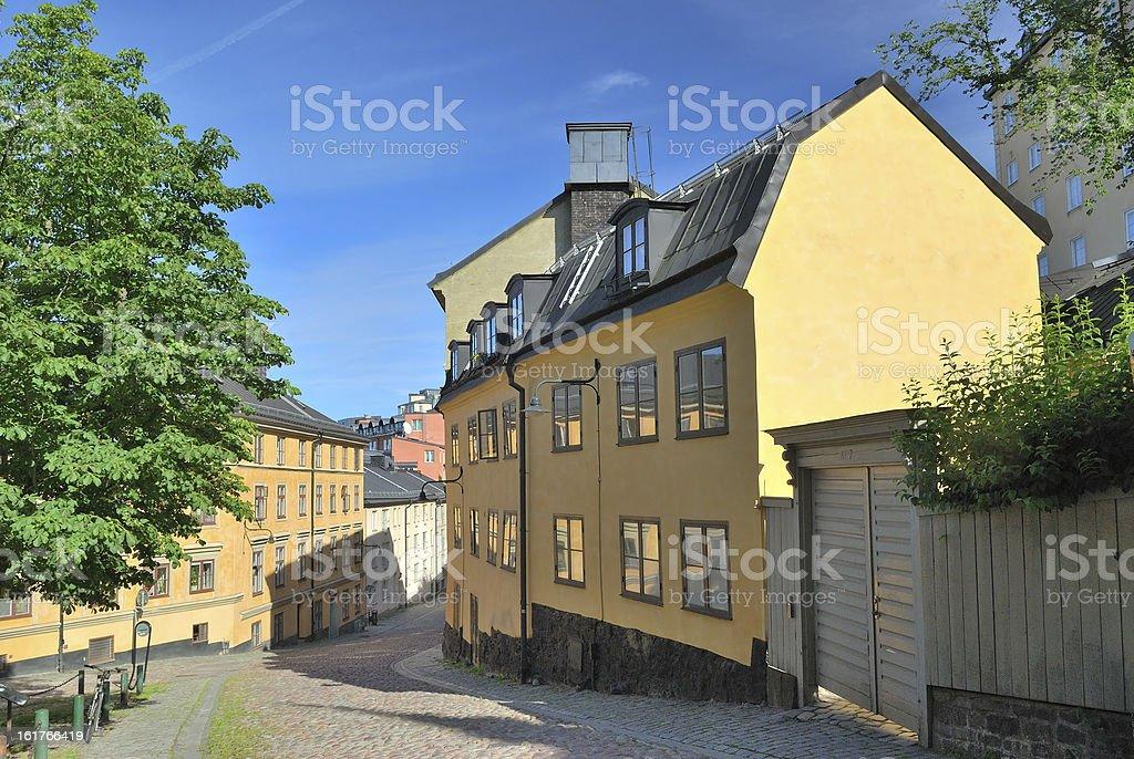 Stockholm.  Narrow street in  Sodermalm royalty-free stock photo