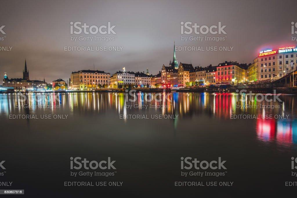 Stockholm Night Cityscape stock photo