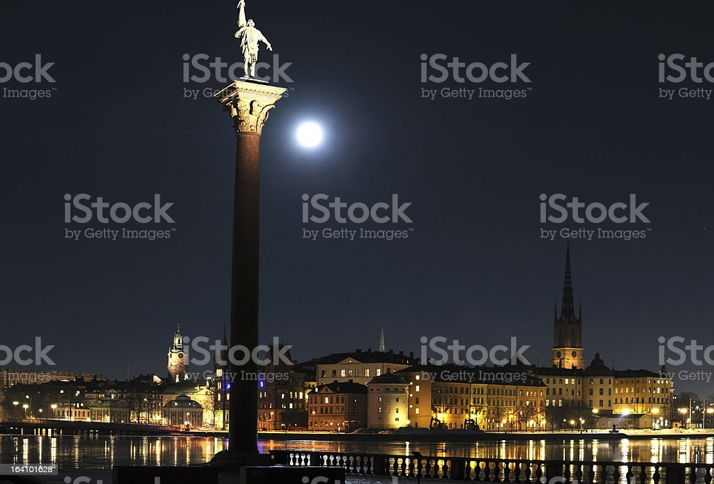 Stockholm Old Town by night royalty-free stock photo