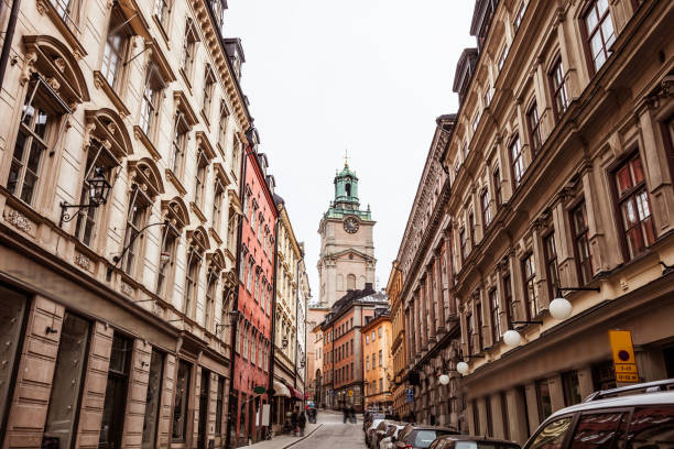 Stockholm old town Gamla Stan city street stock photo