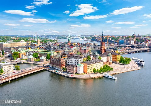 istock Stockholm old town (Gamla Stan) panorama from City Hall top, Sweden 1155473945