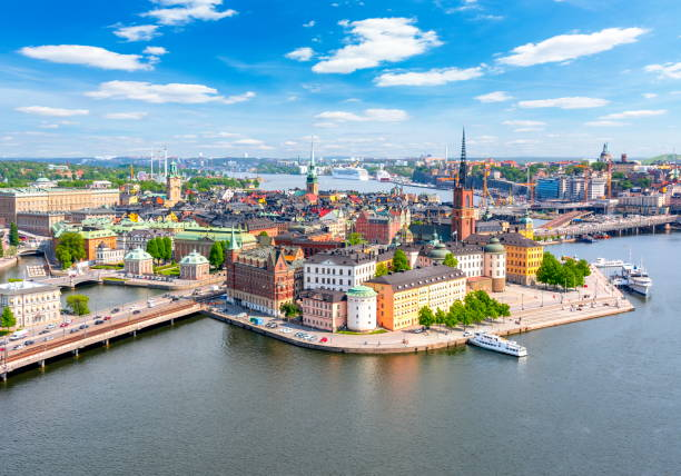 Stockholm old town (Gamla Stan) panorama from City Hall top, Sweden Stockholm old town (Gamla Stan) panorama from City Hall top, Sweden stockholm stock pictures, royalty-free photos & images
