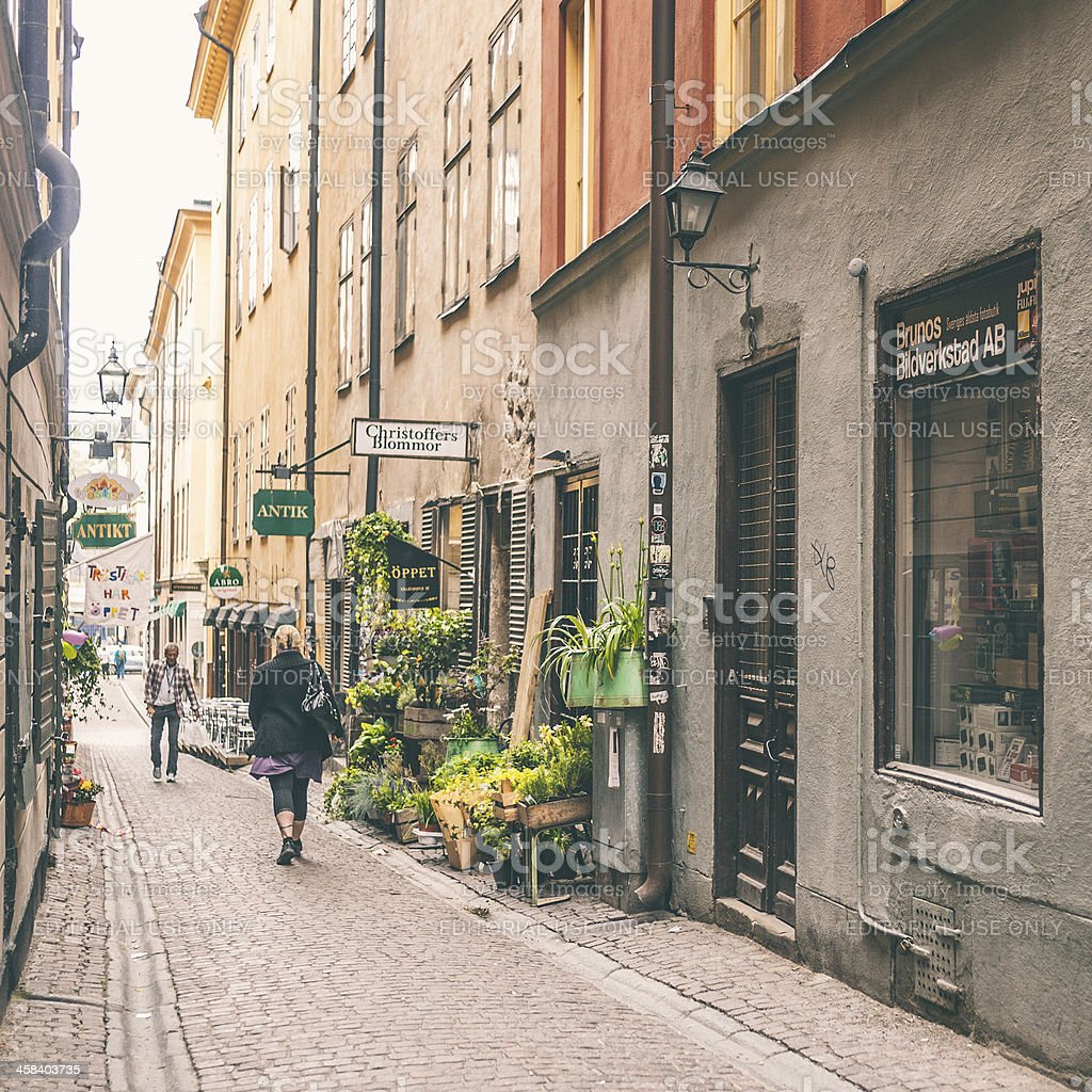 Stockholm old town street. stock photo