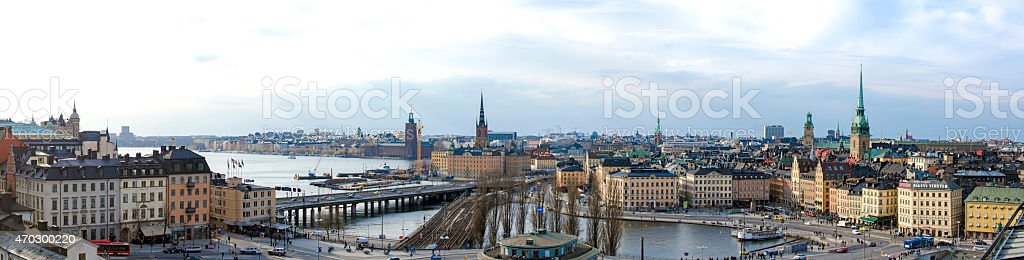 Stockholm panorama from Katarinahissen stock photo