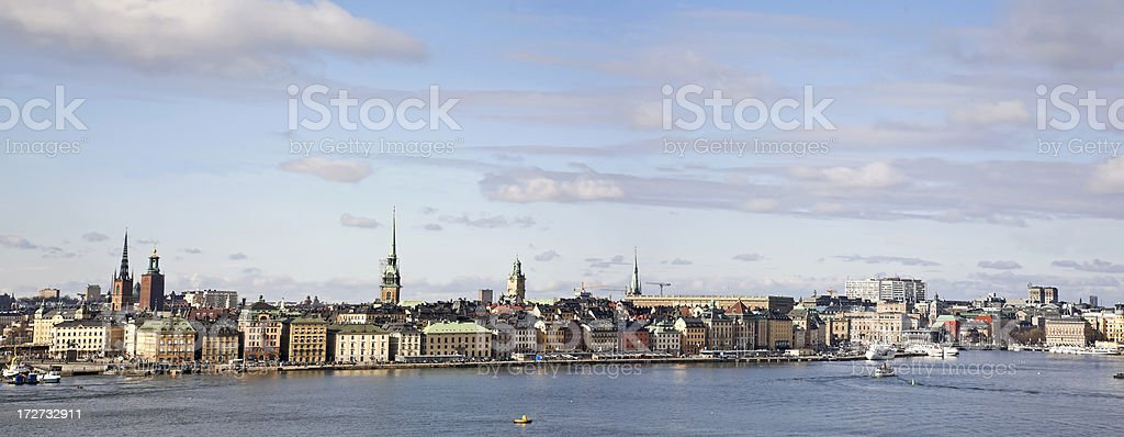 Stockholm panorama . Typical view: sea, blue sky, church towers royalty-free stock photo