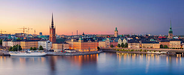 Stockholm. Panoramic image of Stockholm, Sweden during sunset. This is composite of two horizontal images stitched together in photoshop. stockholm stock pictures, royalty-free photos & images
