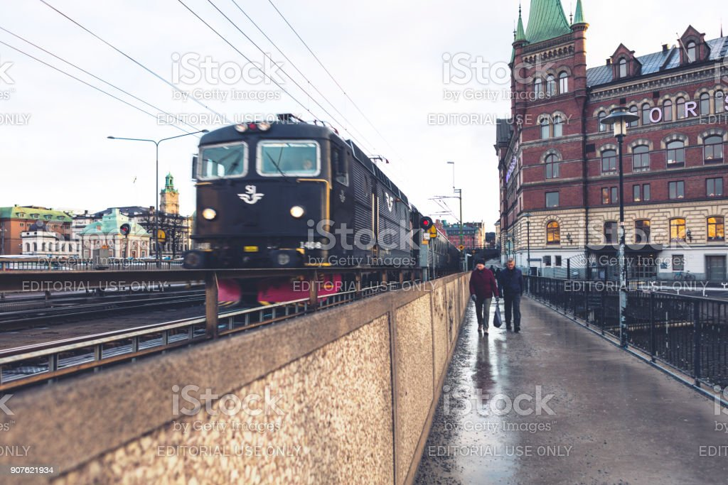 Stockholm public transport Metro commuter trains in city centre Sweden stock photo