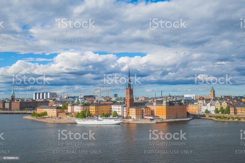 Stockholm Riddarholmen island waterfront panoramic view stock photo