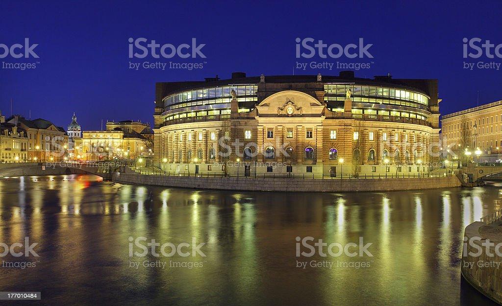 Stockholm, Rigsdag, illuminated House of Parliament stock photo