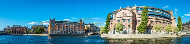 stockholm riksdagshuset swedish parliament rosenbad waterfront cityscape panorama sweden - politique et gouvernement photos et images de collection