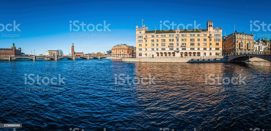 Stockholm Rosenbad Stromgatan and Stadhus cityscape reflecting in Norrstrom Sweden stock photo
