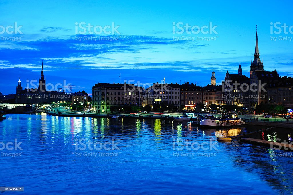Stockholm silhouette with famous landmarks stock photo