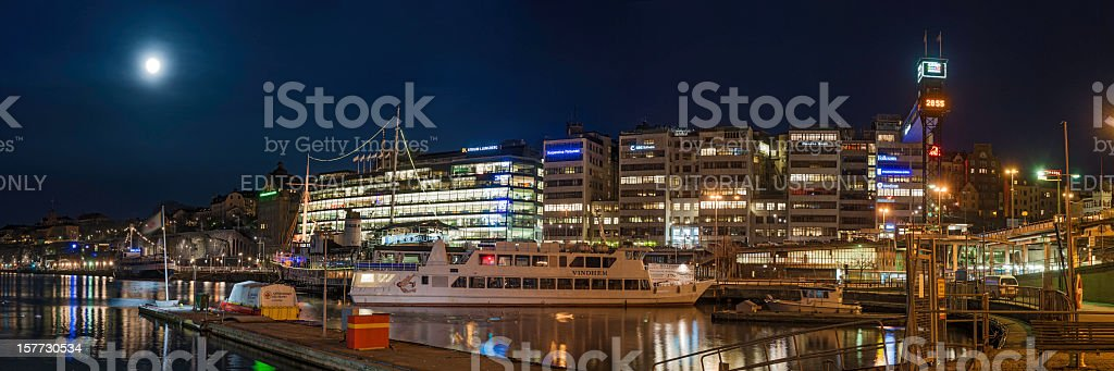 Stockholm Sodermalm neon night waterfront panorama stock photo