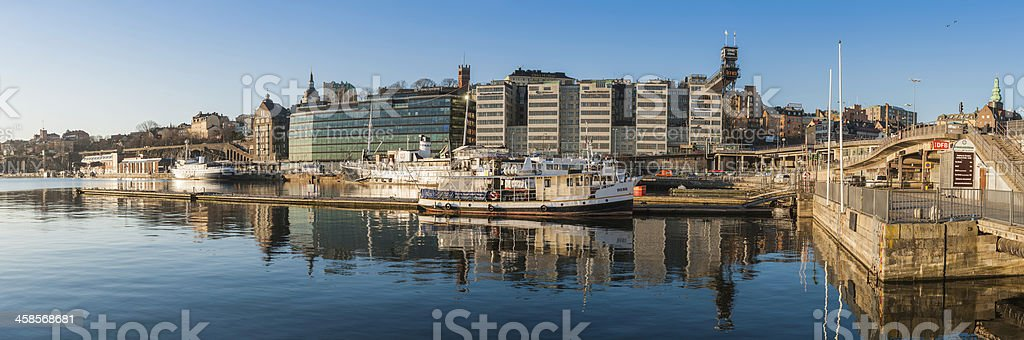 Stockholm Sodermalm waterfront sunrise panorama stock photo