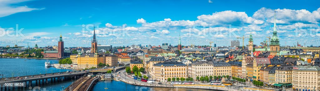 Stockholm spires City Hall Gamla Stan waterfront cityscape panorama Sweden stock photo