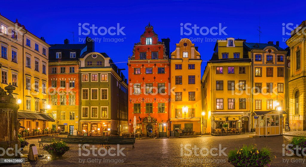 Stockholm Stortorget medieval square colorful townhouses restaurants Gamla Stan Sweden stock photo