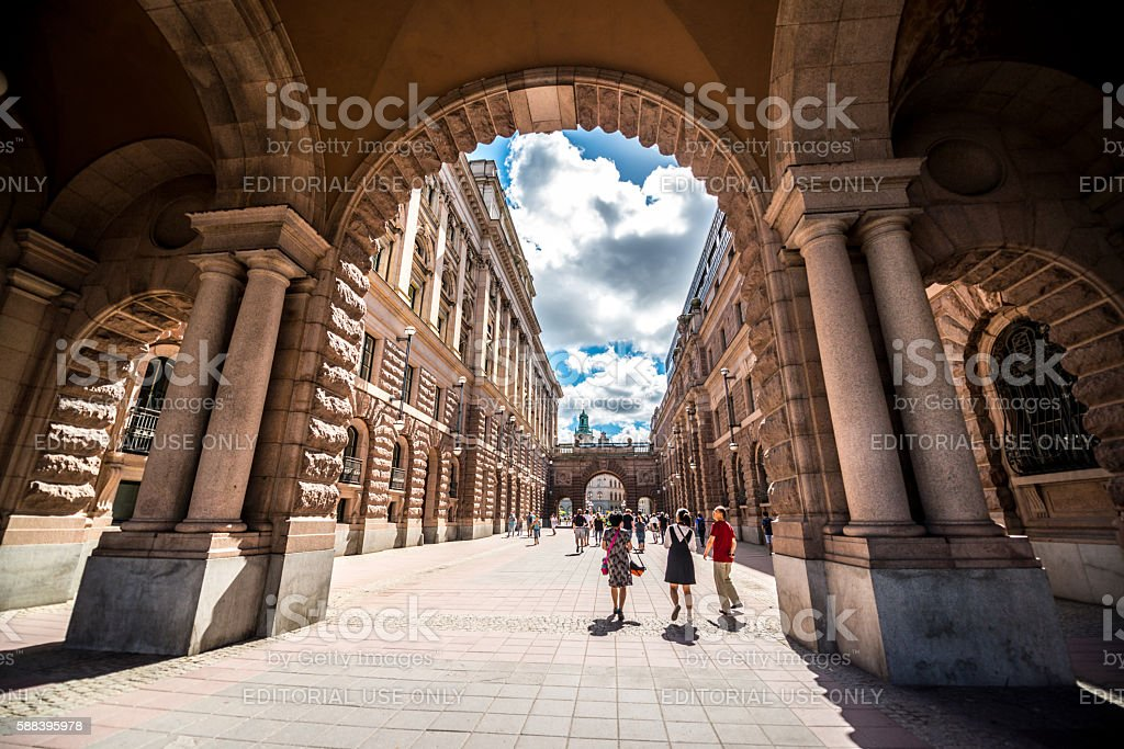Stockholm street with tourists going towards Gamla Stan, Sweden stock photo