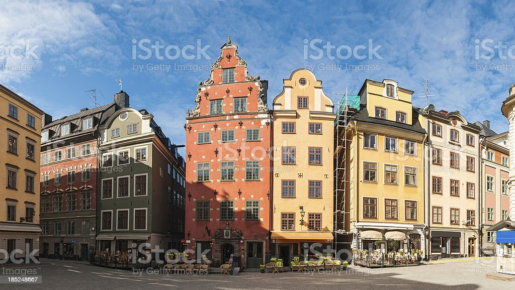Stockholm Strotorget square restaurants colourful townhouses Sweden royalty-free stock photo