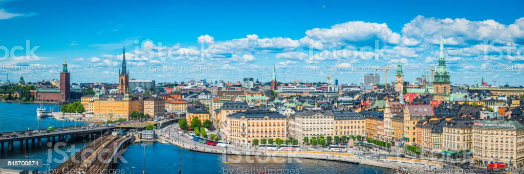 Stockholm summer spires harbour waterfront cityscape panorama Gamla Stan Sweden stock photo