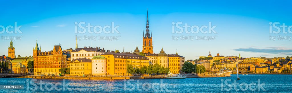Stockholm sunset Gamla Stan harbour waterfront city landmarks panorama Sweden stock photo