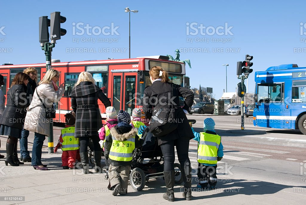 Stockholm. Sweden. Children from infant school with teachers stock photo