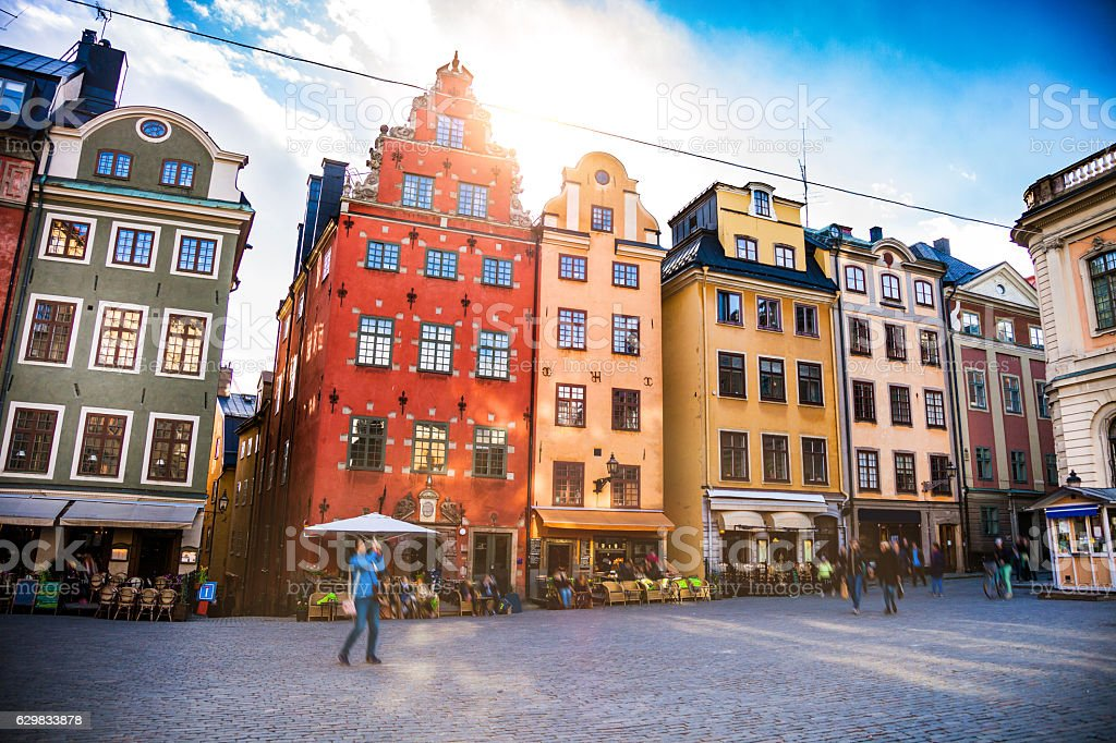 Stockholm, Sweden, Old town and town square bildbanksfoto