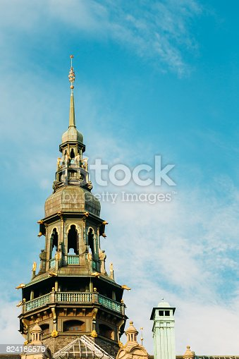 istock Stockholm, Sweden. Onion Dome Of Famous Old Building Nordic Museum, Blue Sky Background 824186578