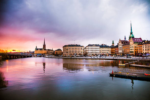 stockholm, sweden. panorama of the old town and church - stockholm bildbanksfoton och bilder