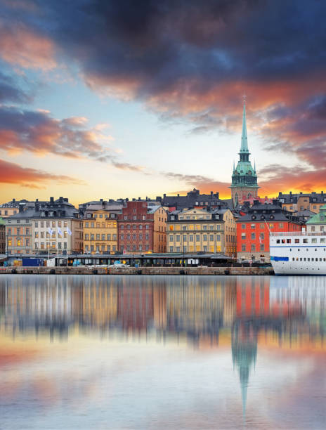 Stockholm, Sweden - panorama of the Old Town, Gamla Stan Stockholm, Sweden - panorama of the Old Town, Gamla Stan stockholm stock pictures, royalty-free photos & images