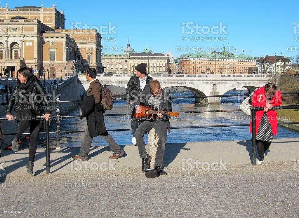 Stockholm. Sweden. People on The Riksbron Bridge stock photo