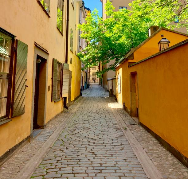 Stockholm, Sweden (Historic tourist district and river) stock photo